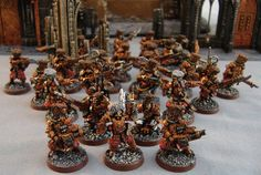 Warhammer Imperial Guard, like the gold and red scheme Warhammer Imperial Guard, 40k Imperial Guard, Warhammer Models, Warhammer 40k, Space Marine, Marines, Hobbies, Miniatures, Table Decorations