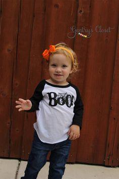 Boo Halloween Baseball Raglan Graphic Shirt. by GentrysCloset