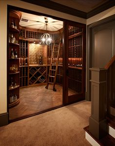 Traditional Wine Cellar Design Ideas, Pictures, Remodel and Decor Bodega Bar, Wine Cellar Basement, Library Bar, Library Ladder, Home Wine Cellars, Bar A Vin, Wine Cellar Design, In Vino Veritas, Italian Wine