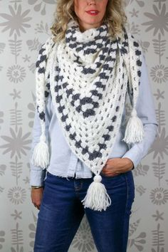 Free crochet triangle scarf pattern using the granny stitch. Made with Lion Brand New Basic 175 yarn.