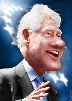 Bill Clinton - Caricature by DonkeyHotey, via Flickr