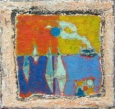 Cote D'Azur Window, 1990, Herbert Siebner, mixed media, 9.25 x 9.5 in., Victoria, B.C., Canada.  Herbert Siebner Art and Artwork For Sale by Pegasus Gallery of Canadian Art ~ Salt Spring Art Galleries