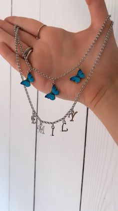 3 turquoise butterly necklace and a silver personalised name neckslxd Stylish Jewelry, Cute Jewelry, Jewelry Crafts, Handmade Wire Jewelry, Beaded Jewelry, Beaded Necklaces, Diy Jewelry Necklace, Jewellery Earrings, Necklace Ideas