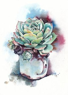 Succulent print, Succulent watercolor, Succulent art, Botanical print - giclee print of an original watercolor x 7 in) - Painting Ideas Watercolor Succulents, Watercolor Flowers, Succulents Painting, Succulents Drawing, Watercolor Print, Watercolour Painting, Impressions Botaniques, Arte Sketchbook, Plant Painting