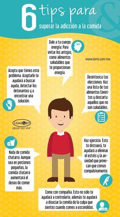 Infografía: 6 tips para enfrentar la adicción a la comida.  #salud #bienestar #infografia