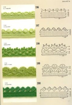 Crochet Edgings with pattern charts. Loads of crochet Motifs, flowers & beautifu… Crochet Edgings with pattern charts. Loads of crochet Motifs, flowers & beautiful Edging patterns at site ! Crochet Boarders, Crochet Lace Edging, Crochet Motifs, Crochet Diagram, Crochet Stitches Patterns, Crochet Chart, Crochet Trim, Diy Crochet, Crochet Designs