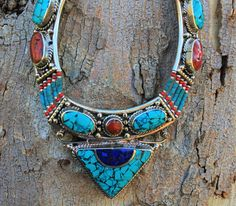 Turquoise, Coral, Lapis Vintage Necklace, Handmade Necklace, Himalayan Necklace, tribal necklace,Gyspy Necklace by RicaJewelsCalifornia on Etsy https://www.etsy.com/listing/260958376/turquoise-coral-lapis-vintage-necklace