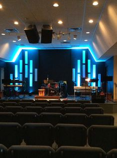 Stacy Bishop from New Life Christian Church in Winchester, VA brings us these vertical gutter pieces. Church Lobby, Church Foyer, Church Interior Design, Church Stage Design, Stage Lighting Design, Lighting Ideas, Youth Decor, Church Backgrounds, Industrial Ceiling Lights