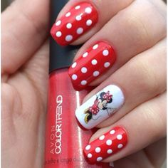 Minnie Mouse Nails! Just in time for a trip to Disneyland! #nailart