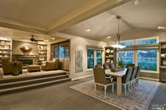 Elevated Living Room *love when there are different levels built into a great room*