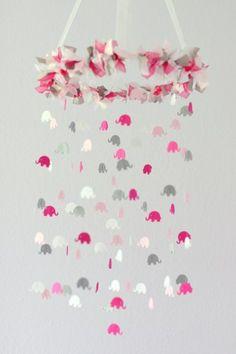 Pink Gray Girl Elephant Nursery Mobile- Crib Mobile
