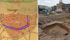 De dubbele muur rond Nijmegen in 1400, dwars over Plein 1944. De onderkant van de Verloren Toren van de dubbele stadsmuur!  Met de Verloren Toren, de Windmolenpoort en de Burchtpoort in rood. Gevonden op Plein 1944,  op de plaats van de rode stip op het kaartje.