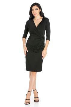 756f1cafdbe 24seven Comfort Apparel Black Knee Length Long Sleeve V Neck Wrap Dress
