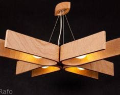 Hanging lamp with natural wood texture made of bent plywood inches) chandelier modern wood by zyrRafo PLN) Wood Chandelier, Wood Lamps, Modern Chandelier, Pendant Lamps, Cool Light Fixtures, Geometric Lamp, Lamp Design, Natural Wood, Ceiling Lights