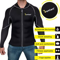 Amazon.com : Men Sweat Neoprene Weight Loss Sauna Suit Workout Shirt Body Shaper Fitness Jacket Gym Top Clothes Shapewear Long Sleeve (Black, XXL) : Sports & Outdoors
