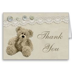 Teddy Bear Vintage Lace Thank You Cards