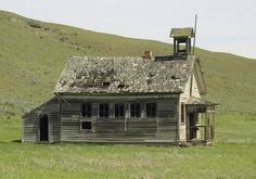 """""""Yesteryear's School"""" -- [An old abandoned school surrounded by the color of Spring green grass. Built in 1904 - *Eight Mile School* is located on Japanese Hollow Road - near The Dalles in Central Oregon.]~[Photograph by swainboat (gary) - April 21 2010 - Rice, Oregon - US]'h4d-25.2013'"""