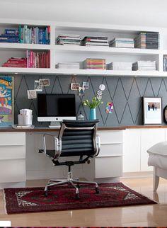 desk, wall shelves