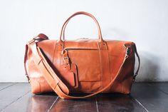 weekend bag shoulder bag handmade leather bag by SunriseNomad