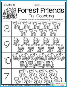 Counting worksheets for kindergarten math. The happy forest friends on this page come from my 30 page set of November Counting Worksheets. It's an awesome set that includes count to 5, 10, 15, 20 and even 100, as well as color by number, number tracing 1-10 and 1-20, graphing, and more. Please take a look at it!