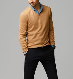 MASSIMO DUTTI CAMEL QUILTED V-NECK SWEATER £44.95 (0905/099)