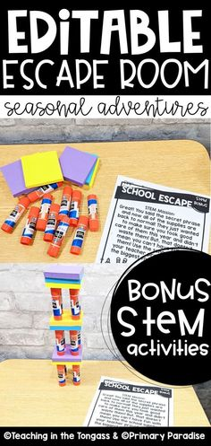 Bring STEM and year long ESCAPE ROOM fun to your classroom with this bundle of 12 SEASONAL themed adventures that your students will love! These are perfect escape rooms for young kids, and are editable so you can integrate ELA and math with each theme. Each theme includes the same familiar 5 tasks, which allows your students to develop confidence and independence. Teaching Phonics, Phonics Activities, Classroom Activities, Primary Classroom, Classroom Ideas, Teacher Organization, Teacher Hacks, Spelling Word Practice, Escape Room For Kids