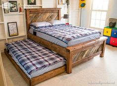 Farmhouse Pallet Bed With Rolling Trundle DIY Pallet Bedroom - Pallet Bed Frames & Pallet Headboards