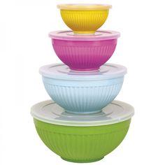 Schüsseln 4er-Set bunt aus Melamin mit Deckel - Rice Denmark #melamin #bowl #colorful