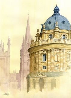Radcliffe Camera and St Mary's Oxford. A fine art Giclee print on Museum watercolour paper. Signed by the artist Chris Fothergill. Pen And Watercolor, Watercolor Landscape, Watercolour Paintings, Watercolors, Oxford College, Manchester College, Oxford United Kingdom, Visit Oxford, Oxford England