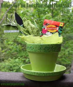 iLoveToCreate Blog: iLoveToCreate Teen Crafts: Mothers Give You Roots Mother's Day Planter and Plant Stake