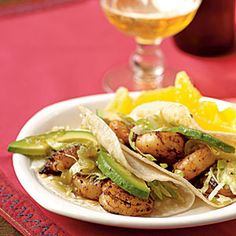 Shrimp are a favorite weeknight staple because they cook quickly, taste great, and are an excellent protein source. The spice mixture in this dish includes sugar to get a nice browned color and charred flavor in just three minutes of cooking, while cumin and chipotle add big flavor. Sliced avocado in the finished tacos gives them a lovely creamy texture that takes the place of less-healthful sour cream or cheese.View Recipe: Chipotle Shrimp Tacos