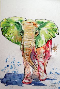 Colorful elephant by kovacsannabrigitta on DeviantArt