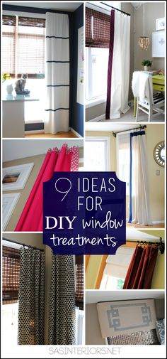 9 Ideas for DIY window treaments. Unique & Creative ideas for making your own window treatments and/or customizing store bought curtains.  This is a must see post.  All these window treatments are in ONE HOME!
