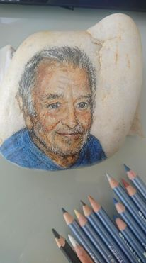 Stone, Portraits, Pictures, Painting On Stones, Draw, Rock, Rocks, Portrait Paintings, Portrait