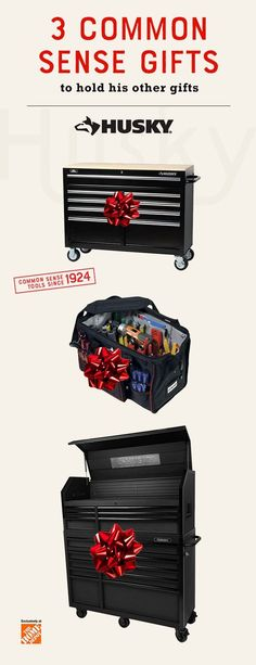 Looking for gift ideas? Give the tool and DIY lover in your life the perfect gift to hold all his favorite gifts this Holiday season with Husky's tool storage and organization essentials. The 46in Workbench, 18 in. Large Mouth Bag with Tool Wall and our 15-Drawer Tool Chest and Cabinet are perfect for storing and organizing everything you need for your home improvement and renovation projects. Their sleek design looks great in any garage or work station. Click to explore more gift ideas.