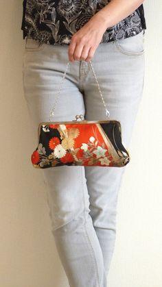 Orange and Black Floral Japanese Obi Fabric by cheekyleopard Japanese Kimono, Japanese Fashion, Homemade Bags, Modern Kimono, Frame Purse, Harajuku Girls, Patchwork Bags, Fabric Bags, Lining Fabric