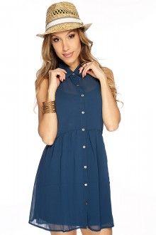 Teal Button Up Sleeveless Dress