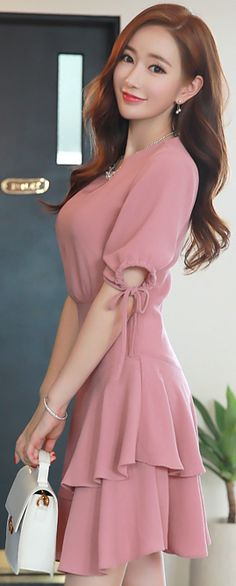 StyleOnme_Shirred Sleeve Two Tier Flared Dress #pink #sweet #cute #koreanfashion #kstyle #kfashion #seoul #datelook #summertrend