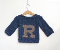 Hand Knit, Custom, Personalized Baby Sweater with Initial. Soft Alpaca, in Indigo and Flax.