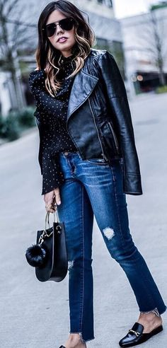 fashion inspiration / printed blouse + bag + leather jacket + rips + loafers