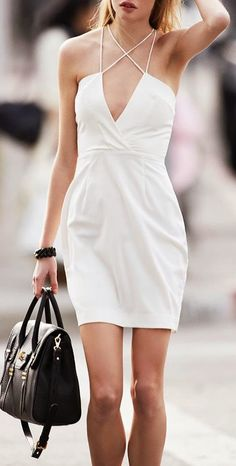 V-Neck White Neck Strap Dress