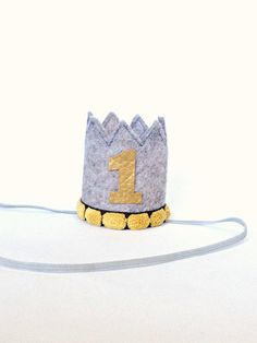 Birthday Crown Baby Boy First Birthday Felt by littleblueolive, $17.00