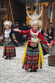 Miao traditional costume. Longde village, Guizhou province, China