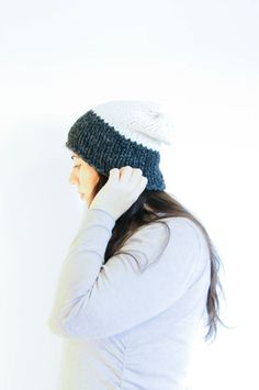 Knit Slouchy Hat / Winter Toque Two-Toned Charcoal & Fisherman by daynightrose on Etsy