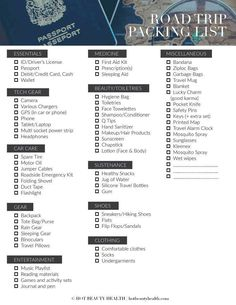 Free road trip packing list printable! Planning to go on a little travel adventure this spring, summer, fall or winter? Whether you are planning to drive across a state or across the continent, here is a road trip packing list of 50 essential items that you need to take with you. Hot Beauty Health blog. #travel # packinglist #roadtrip