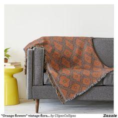 """""""Orange flowers"""" vintage floral arabesque pattern Throw"""