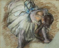 "Edgar Degas ""Dancer adjusting her shoe"" Art Print by Alexandra_Arts - X-Small Edgar Degas, Canvas Art Prints, Canvas Wall Art, Fine Art Prints, Ballerine Degas, Pastel Drawing, Minion, Fine Art Paper, Poster Prints"
