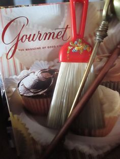 Vintage Hand Painted Red Whisk Broom Brushes by YourFineHouse