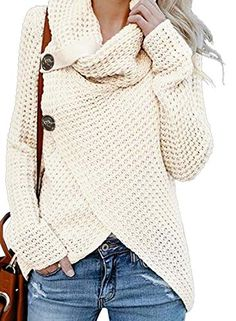 Looking for Asvivid Women's Chunky Button Turtle Cowl Neck Asymmetric Hem Wrap Pullover Sweater ? Check out our picks for the Asvivid Women's Chunky Button Turtle Cowl Neck Asymmetric Hem Wrap Pullover Sweater from the popular stores - all in one. Mode Outfits, Fashion Outfits, Women's Fashion, Fashion Deals, Cheap Fashion, Fashion Women, Fashion Brands, Latest Fashion, Fashion Beauty
