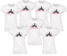 Disney inspired wedding hen party bride and bridesmaids t-shirts with glitter castle and neon pink glitter text. by iganiDesign on Etsy